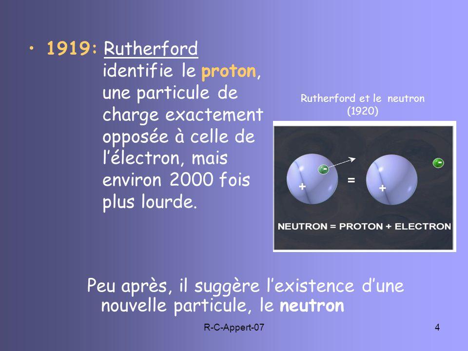 R-C-Appert-074 1919: Rutherford identifie le proton, une particule de charge exactement opposée à celle de lélectron, mais environ 2000 fois plus lour