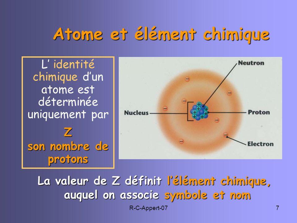R-C-Appert-077 Atome et élément chimique Atome et élément chimique L identité chimique dun atome est déterminée uniquement parZ son nombre de protons