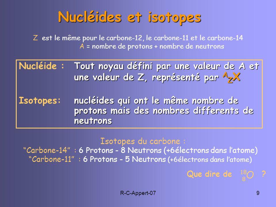 R-C-Appert-079 Isotopes du carbone : Carbone-14 : 6 Protons - 8 Neutrons (+6électrons dans latome) Carbone-11 : 6 Protons - 5 Neutrons (+6électrons da