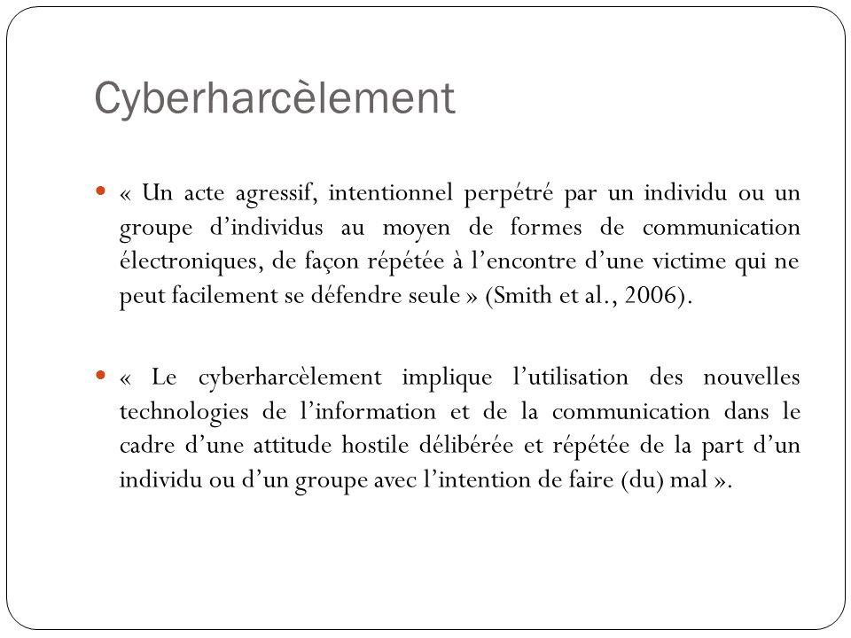 Cyberharcèlement « Un acte agressif, intentionnel perpétré par un individu ou un groupe dindividus au moyen de formes de communication électroniques,