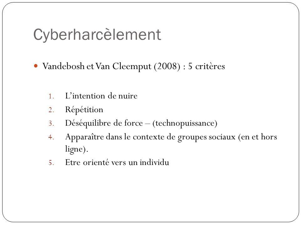 Cyberharcèlement Vandebosh et Van Cleemput (2008) : 5 critères 1. Lintention de nuire 2. Répétition 3. Déséquilibre de force – (technopuissance) 4. Ap