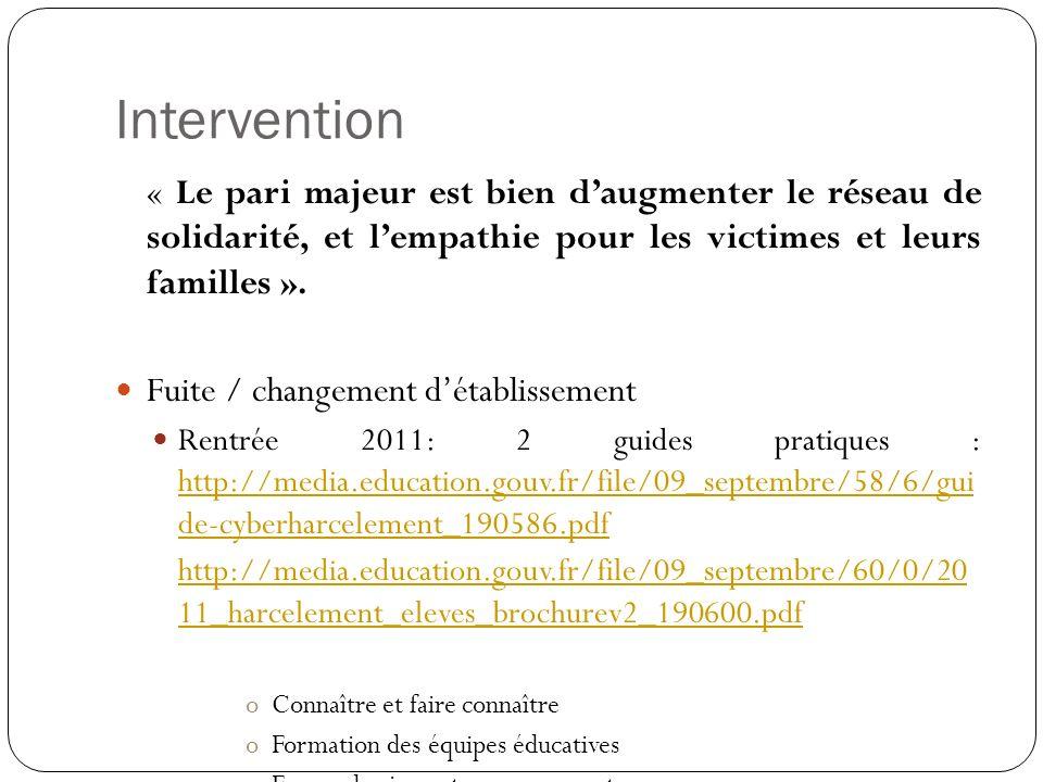 Intervention « Le pari majeur est bien daugmenter le réseau de solidarité, et lempathie pour les victimes et leurs familles ». Fuite / changement déta
