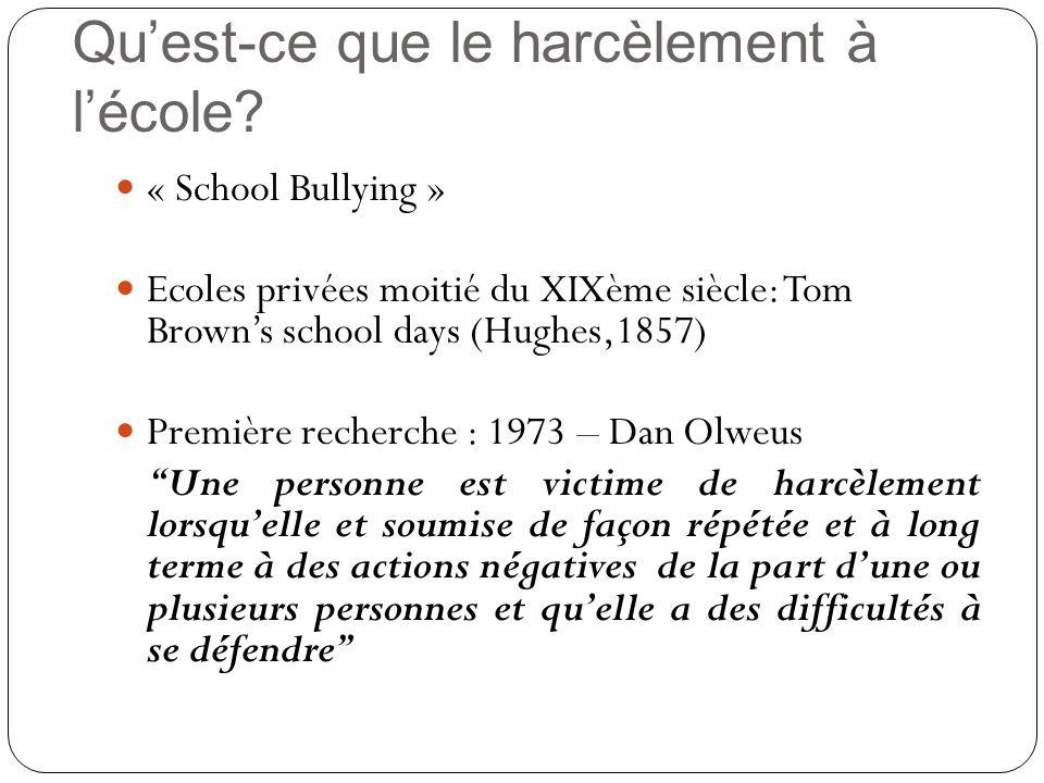 « School Bullying » Ecoles privées moitié du XIXème siècle: Tom Browns school days (Hughes,1857) Première recherche : 1973 – Dan Olweus Une personne e