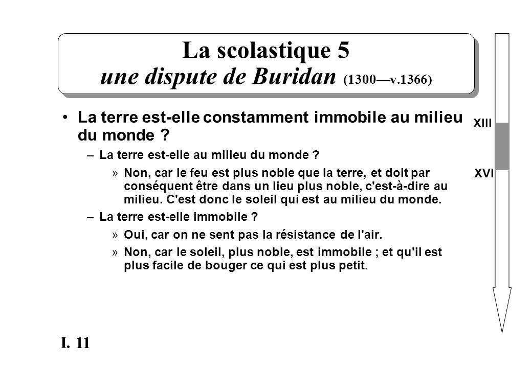 11 I. La scolastique 5 une dispute de Buridan (1300v.1366) La terre est-elle constamment immobile au milieu du monde ? –La terre est-elle au milieu du