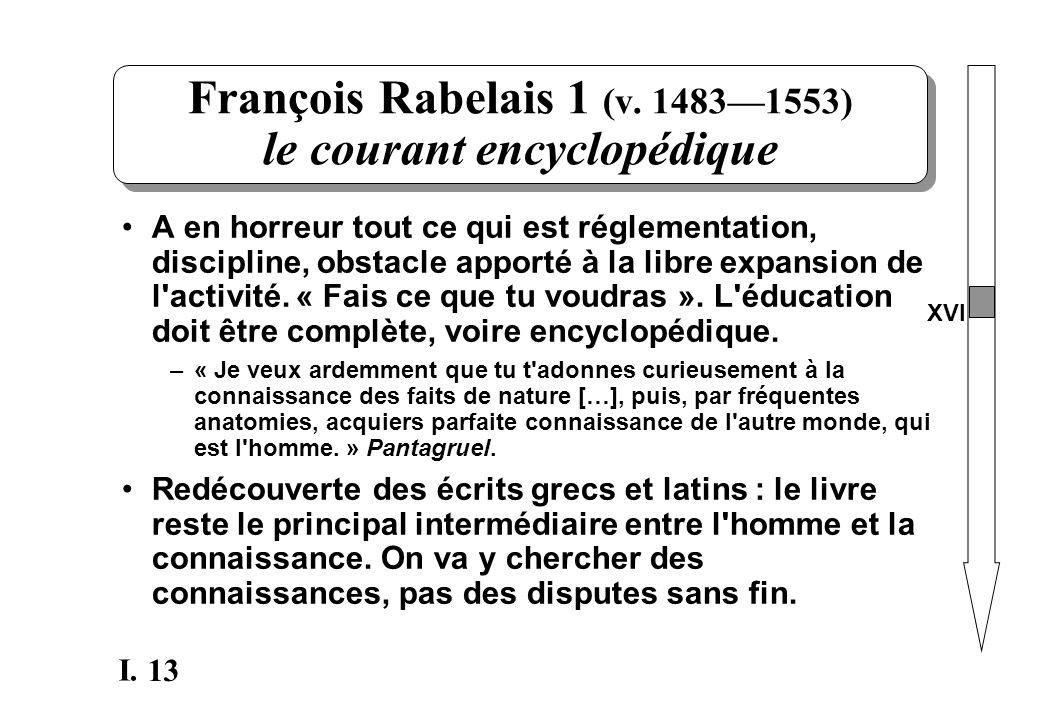13 I. François Rabelais 1 (v. 14831553) le courant encyclopédique A en horreur tout ce qui est réglementation, discipline, obstacle apporté à la libre