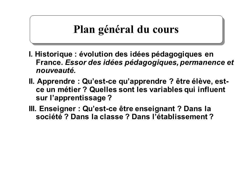 2 I. Plan général du cours I. Historique : évolution des idées pédagogiques en France. Essor des idées pédagogiques, permanence et nouveauté. II. Appr