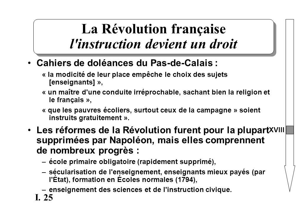 25 I. La Révolution française l'instruction devient un droit Cahiers de doléances du Pas-de-Calais : « la modicité de leur place empêche le choix des