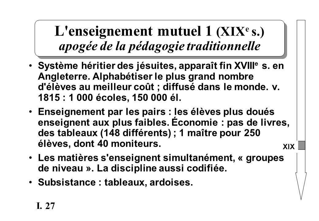 27 I. L'enseignement mutuel 1 (XIX e s.) apogée de la pédagogie traditionnelle XIX Système héritier des jésuites, apparaît fin XVIII e s. en Angleterr