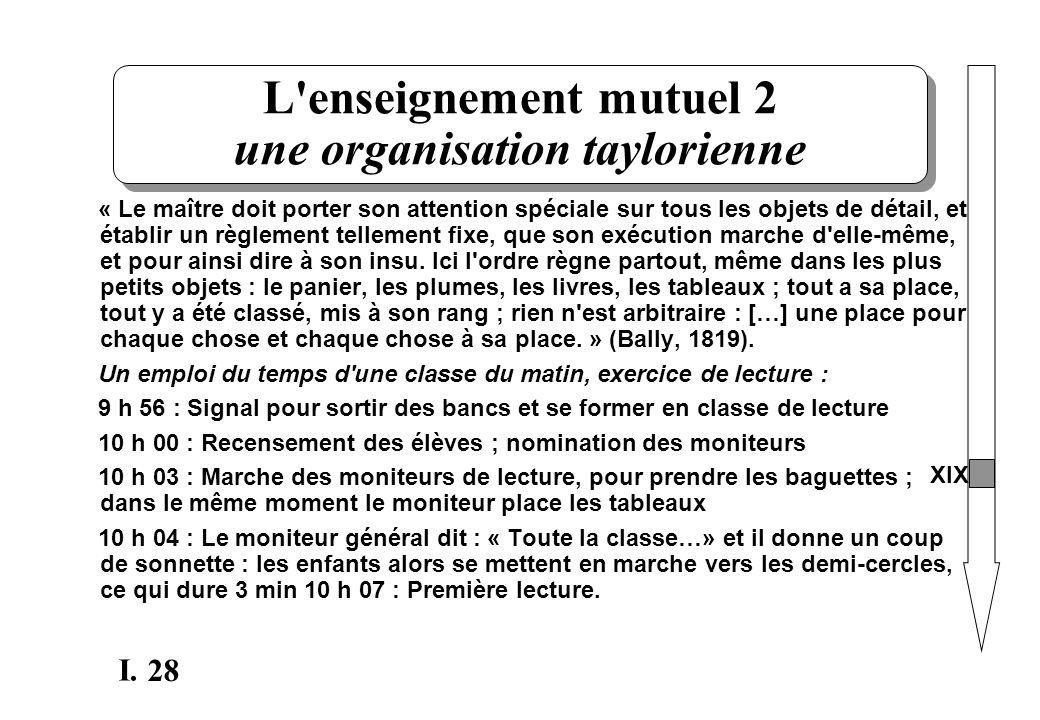 28 I. L'enseignement mutuel 2 une organisation taylorienne « Le maître doit porter son attention spéciale sur tous les objets de détail, et établir un