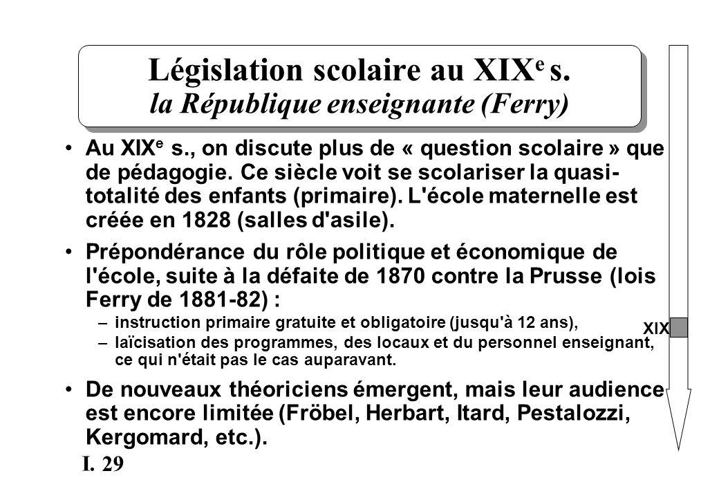 29 I. Législation scolaire au XIX e s. la République enseignante (Ferry) Au XIX e s., on discute plus de « question scolaire » que de pédagogie. Ce si