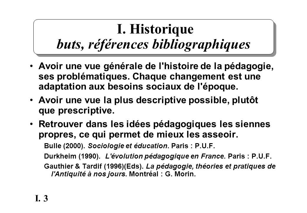 3 I. I. Historique buts, références bibliographiques Avoir une vue générale de l'histoire de la pédagogie, ses problématiques. Chaque changement est u