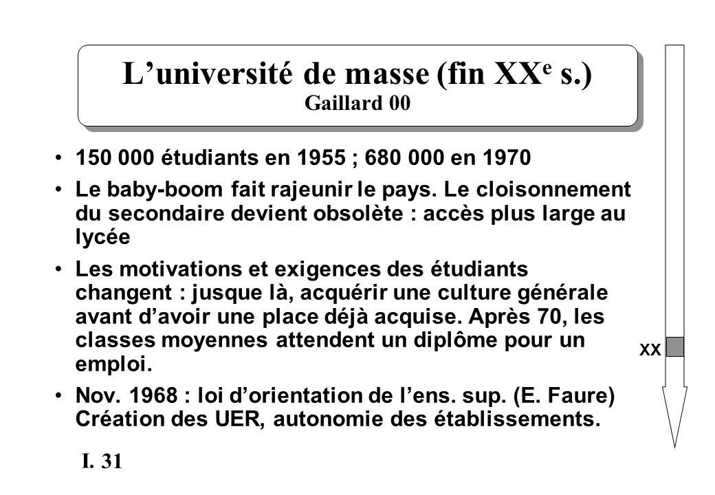 31 I. Luniversité de masse (fin XX e s.) Gaillard 00 150 000 étudiants en 1955 ; 680 000 en 1970 Le baby-boom fait rajeunir le pays. Le cloisonnement
