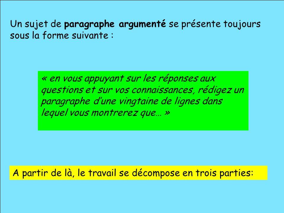 Un sujet de paragraphe argumenté se présente toujours sous la forme suivante : « en vous appuyant sur les réponses aux questions et sur vos connaissan
