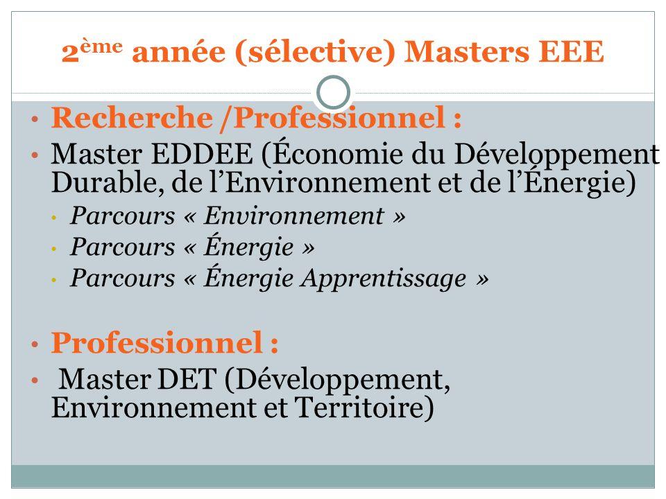 Recherche /Professionnel : Master EDDEE (Économie du Développement Durable, de lEnvironnement et de lÉnergie) Parcours « Environnement » Parcours « Én