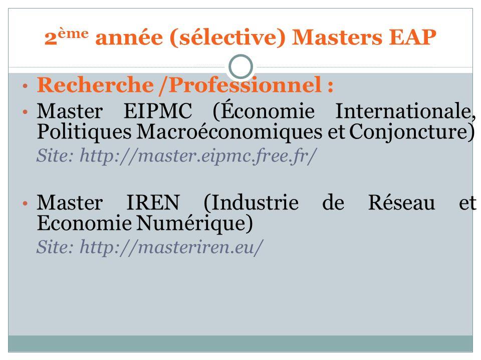 Recherche /Professionnel : Master EIPMC (Économie Internationale, Politiques Macroéconomiques et Conjoncture) Site: http://master.eipmc.free.fr/ Maste