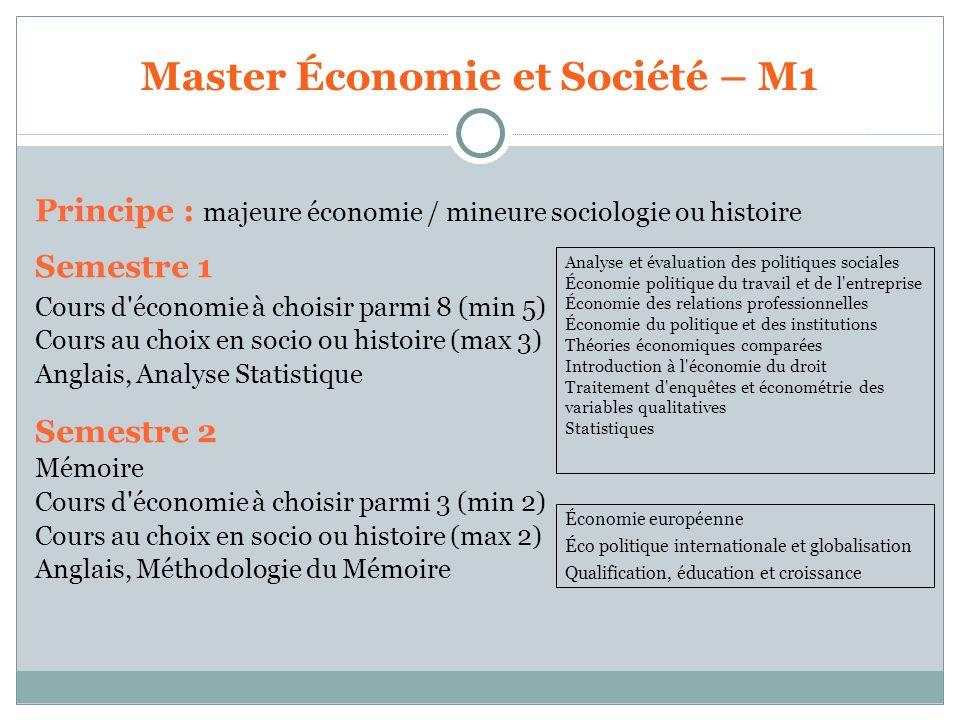 Master Économie et Société – M1 Principe : majeure économie / mineure sociologie ou histoire Semestre 1 Cours d'économie à choisir parmi 8 (min 5) Cou