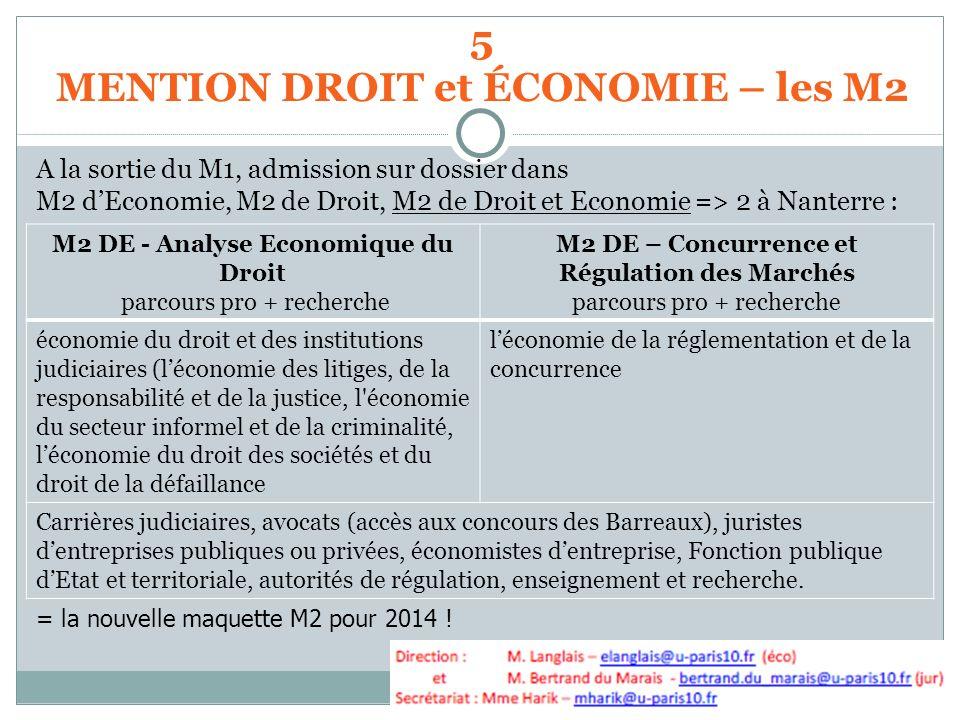A la sortie du M1, admission sur dossier dans M2 dEconomie, M2 de Droit, M2 de Droit et Economie => 2 à Nanterre : = la nouvelle maquette M2 pour 2014