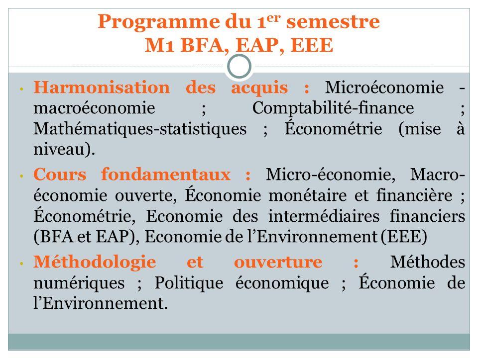 Harmonisation des acquis : Microéconomie - macroéconomie ; Comptabilité-finance ; Mathématiques-statistiques ; Économétrie (mise à niveau). Cours fond