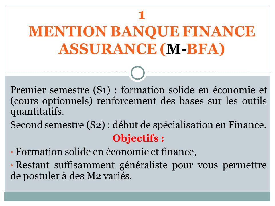 1 MENTION BANQUE FINANCE ASSURANCE (M-BFA) Premier semestre (S1) : formation solide en économie et (cours optionnels) renforcement des bases sur les o