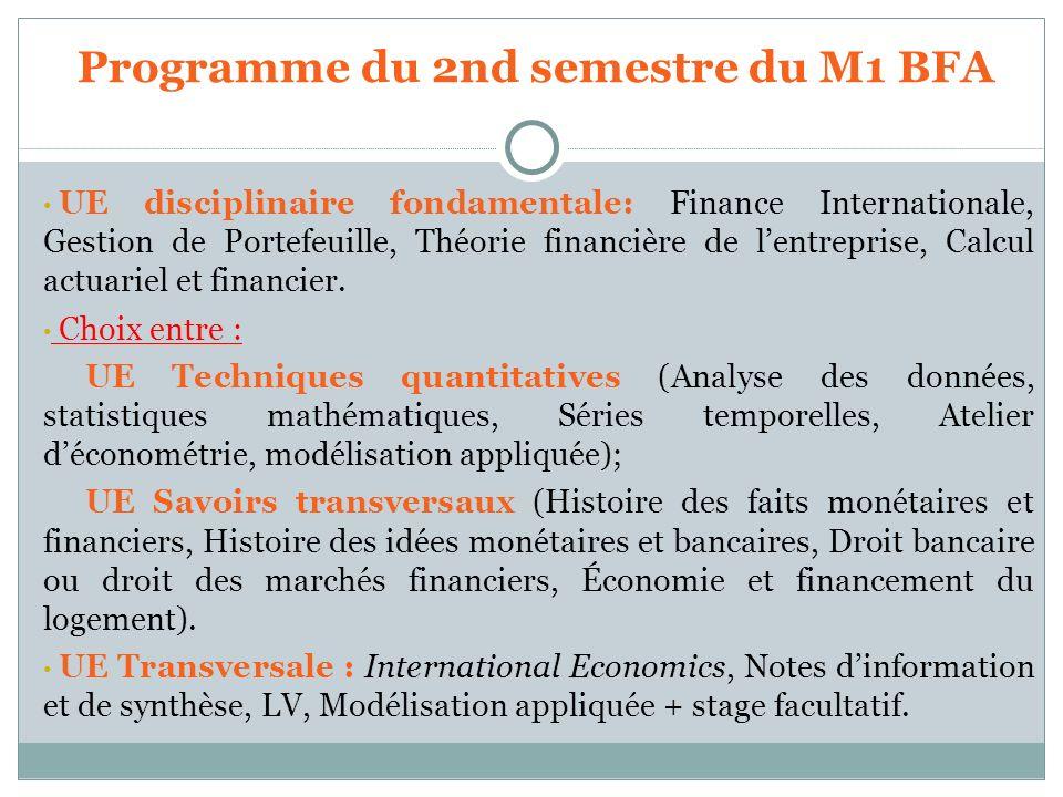 UE disciplinaire fondamentale: Finance Internationale, Gestion de Portefeuille, Théorie financière de lentreprise, Calcul actuariel et financier. Choi