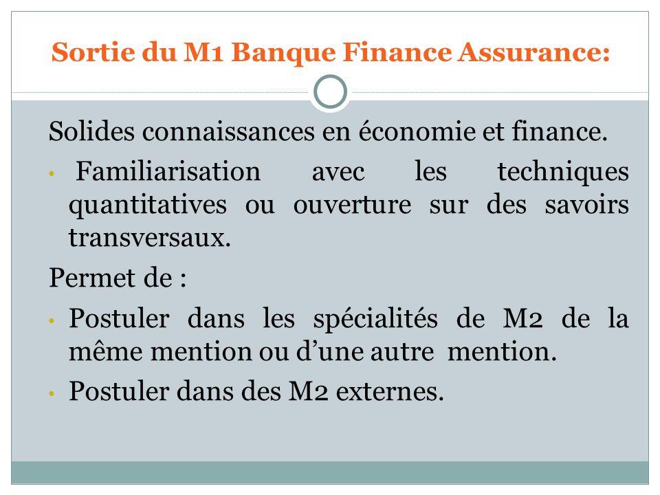 Sortie du M1 Banque Finance Assurance: Solides connaissances en économie et finance. Familiarisation avec les techniques quantitatives ou ouverture su