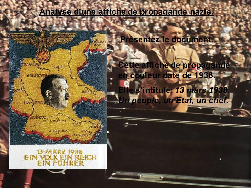 Analyse dune affiche de propagande nazie. Présentez le document. Cette affiche de propagande en couleur date de 1938. Elle sintitule: 13 mars 1938. Un