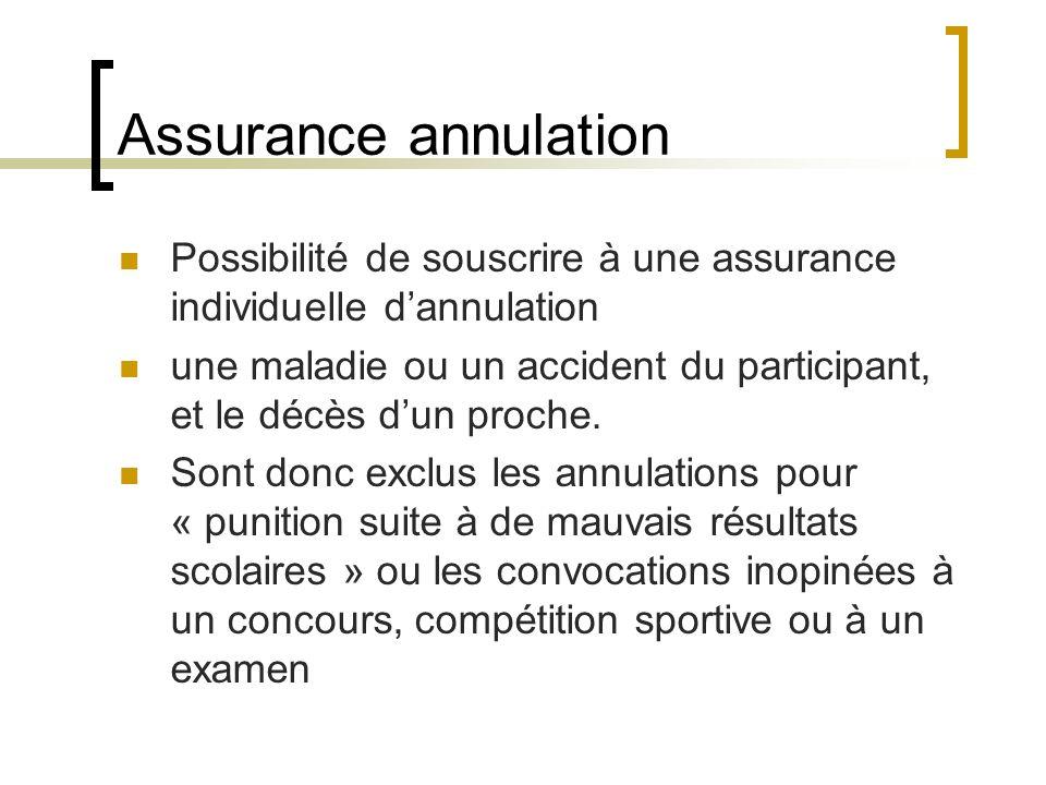 Assurance annulation Possibilité de souscrire à une assurance individuelle dannulation une maladie ou un accident du participant, et le décès dun proc