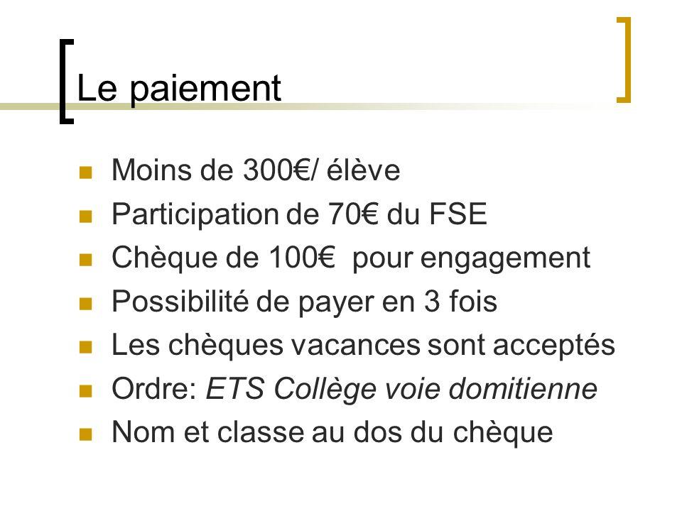 Le paiement Moins de 300/ élève Participation de 70 du FSE Chèque de 100 pour engagement Possibilité de payer en 3 fois Les chèques vacances sont acce