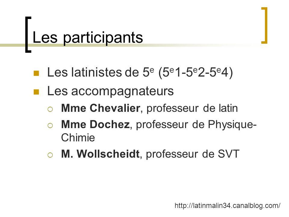 Les participants Les latinistes de 5 e (5 e 1-5 e 2-5 e 4) Les accompagnateurs Mme Chevalier, professeur de latin Mme Dochez, professeur de Physique-