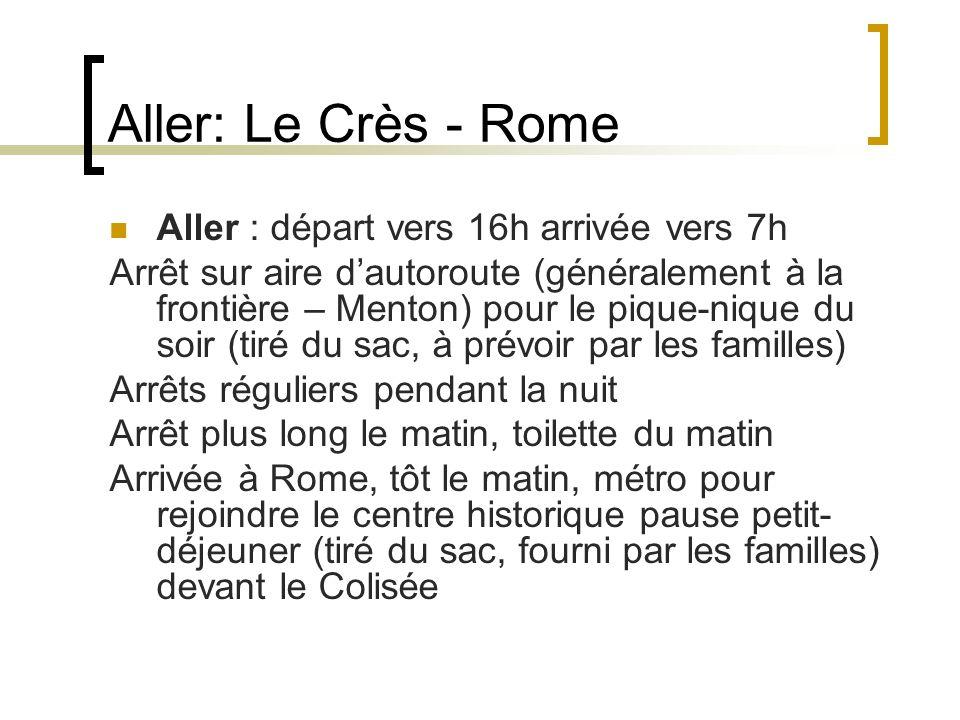 Aller: Le Crès - Rome Aller : départ vers 16h arrivée vers 7h Arrêt sur aire dautoroute (généralement à la frontière – Menton) pour le pique-nique du
