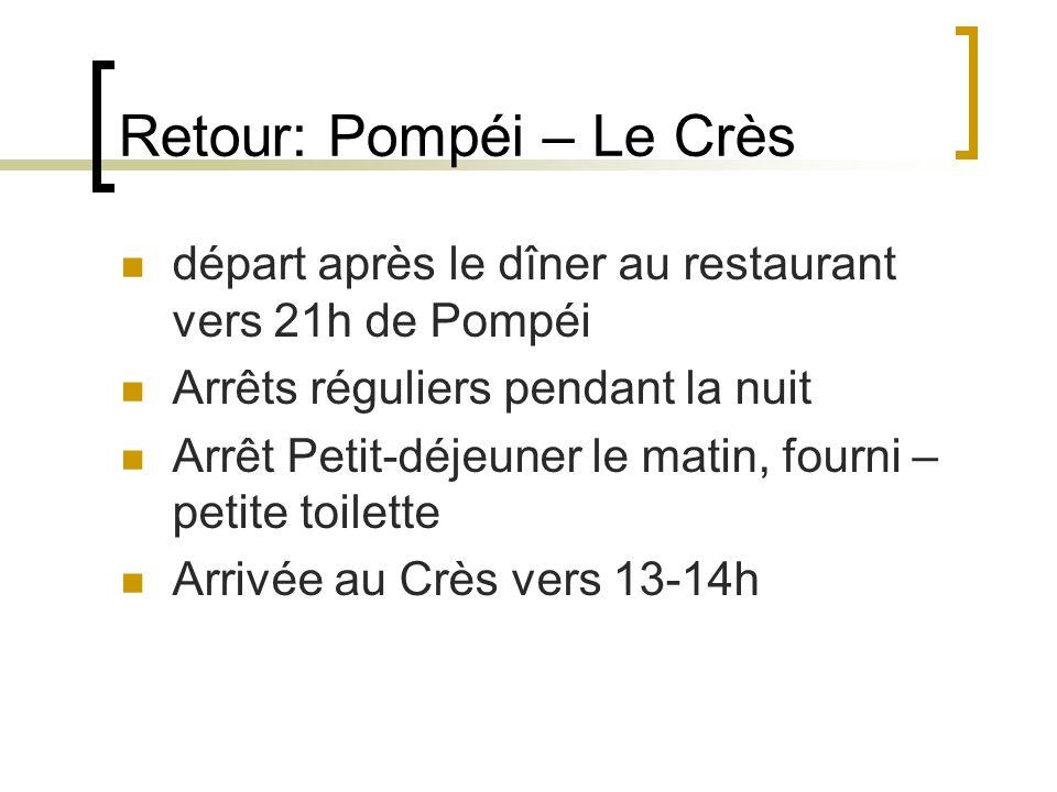 Retour: Pompéi – Le Crès départ après le dîner au restaurant vers 21h de Pompéi Arrêts réguliers pendant la nuit Arrêt Petit-déjeuner le matin, fourni