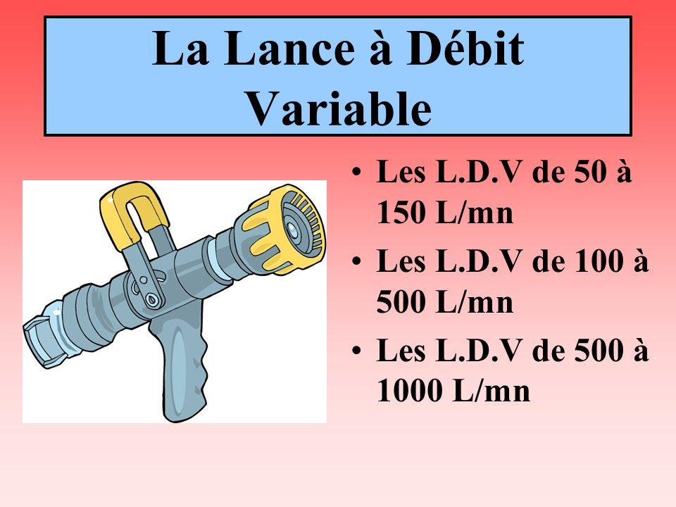L.D.V les débits Position de la moletteDébit d eaucorrespond à un ou de la vanne de correspondantjet de diamètre la lance (bague crantée)à 6 bars de pression(en mm) 0,555 l/mn5 soit la L.D.T 1100 l/mn8 de 20 mm 2200 l/mn12 soit une P.L 3300 l/mn14 de 40 mm 4400 l/mn16 soit une G.L 5500 l/mn18 de 65 mm