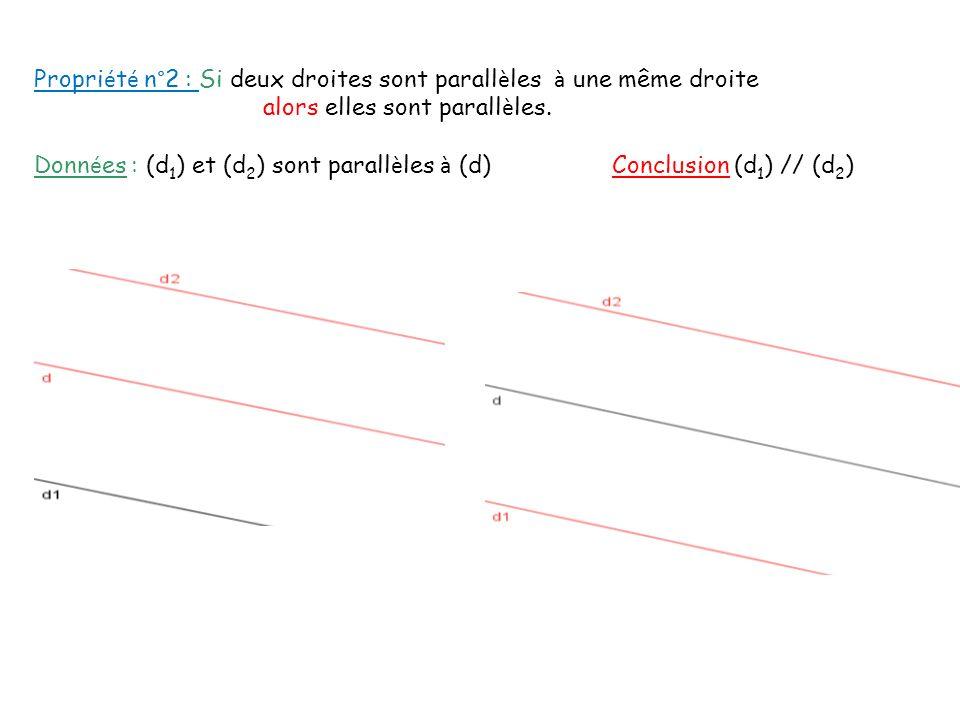 Propri é t é n°2 : Si deux droites sont parall è les à une même droite alors elles sont parall è les. Donn é es : (d 1 ) et (d 2 ) sont parall è les à