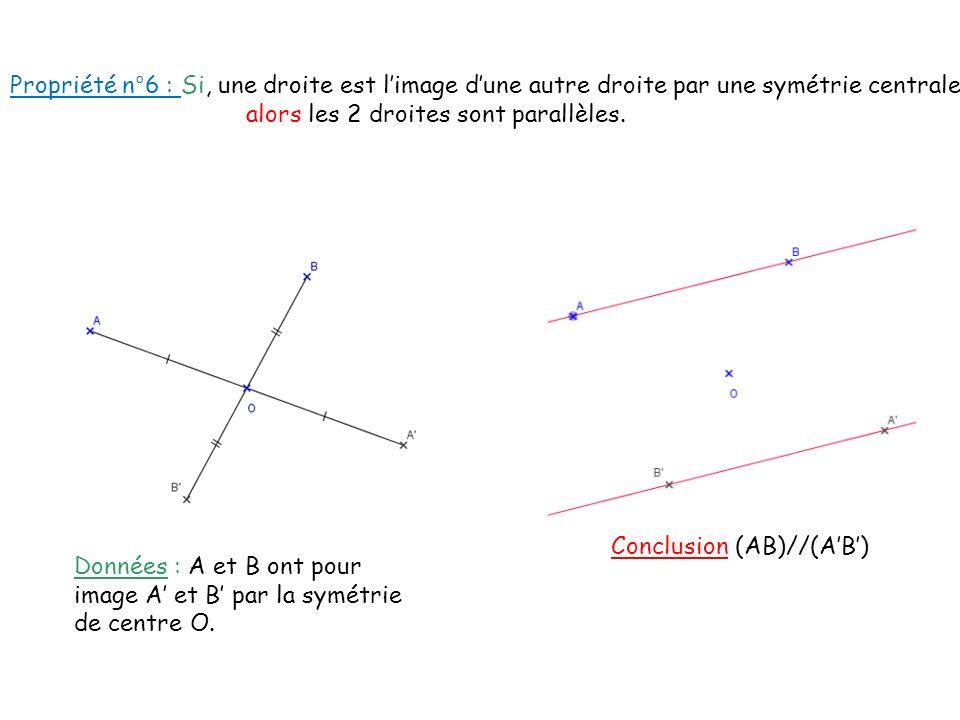 Données : A et B ont pour image A et B par la symétrie de centre O. Conclusion (AB)//(AB) Propriété n°6 : Si, une droite est limage dune autre droite