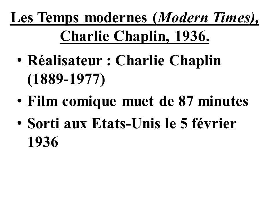 Les Temps modernes (Modern Times), Charlie Chaplin, 1936. Réalisateur : Charlie Chaplin (1889-1977) Film comique muet de 87 minutes Sorti aux Etats-Un