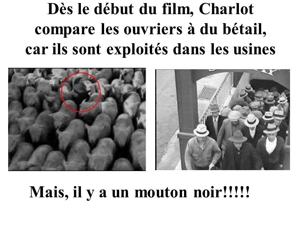Dès le début du film, Charlot compare les ouvriers à du bétail, car ils sont exploités dans les usines Mais, il y a un mouton noir!!!!!