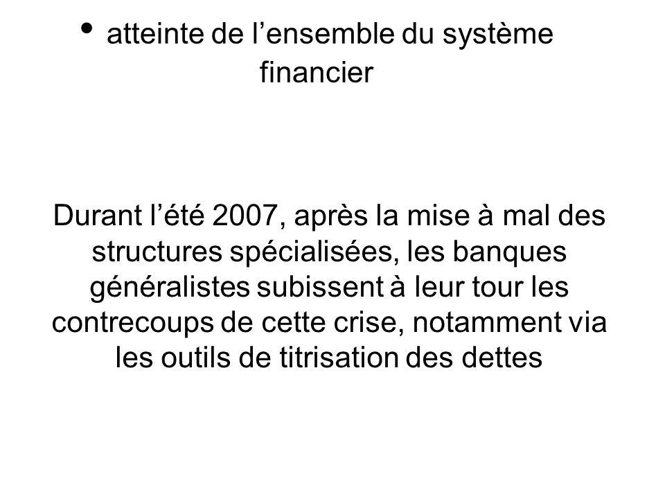 Durant lété 2007, après la mise à mal des structures spécialisées, les banques généralistes subissent à leur tour les contrecoups de cette crise, notamment via les outils de titrisation des dettes atteinte de lensemble du système financier