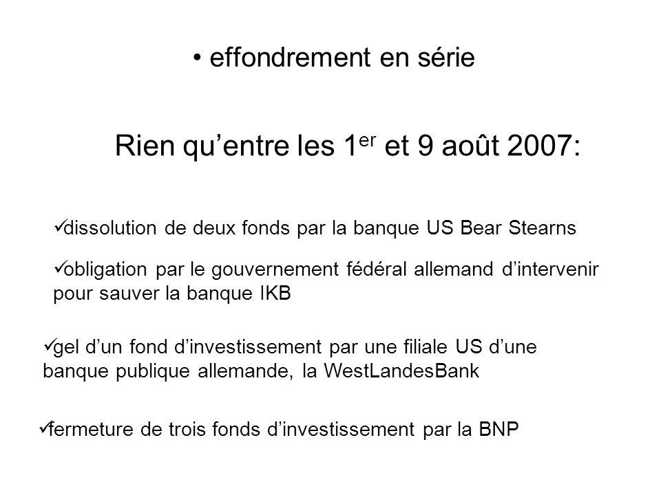 Rien quentre les 1 er et 9 août 2007: effondrement en série dissolution de deux fonds par la banque US Bear Stearns obligation par le gouvernement fédéral allemand dintervenir pour sauver la banque IKB gel dun fond dinvestissement par une filiale US dune banque publique allemande, la WestLandesBank fermeture de trois fonds dinvestissement par la BNP