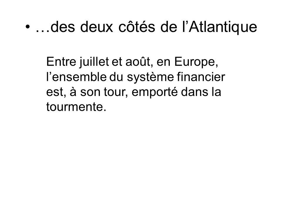 …des deux côtés de lAtlantique Entre juillet et août, en Europe, lensemble du système financier est, à son tour, emporté dans la tourmente.