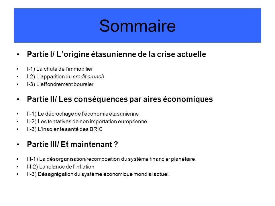 Sommaire Partie I/ Lorigine étasunienne de la crise actuelle I-1) La chute de limmobilier I-2) Lapparition du credit crunch I-3) Leffondrement boursie