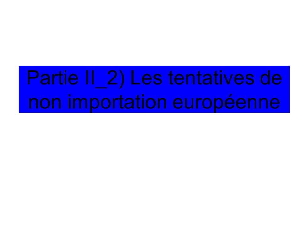 Partie II_2) Les tentatives de non importation européenne