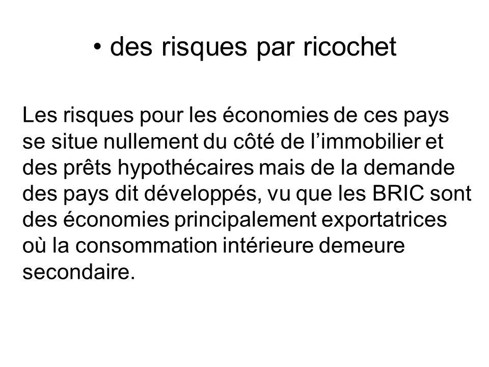des risques par ricochet Les risques pour les économies de ces pays se situe nullement du côté de limmobilier et des prêts hypothécaires mais de la de