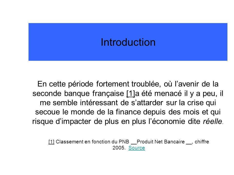 Introduction En cette période fortement troublée, où lavenir de la seconde banque française [1]a été menacé il y a peu, il me semble intéressant de sa