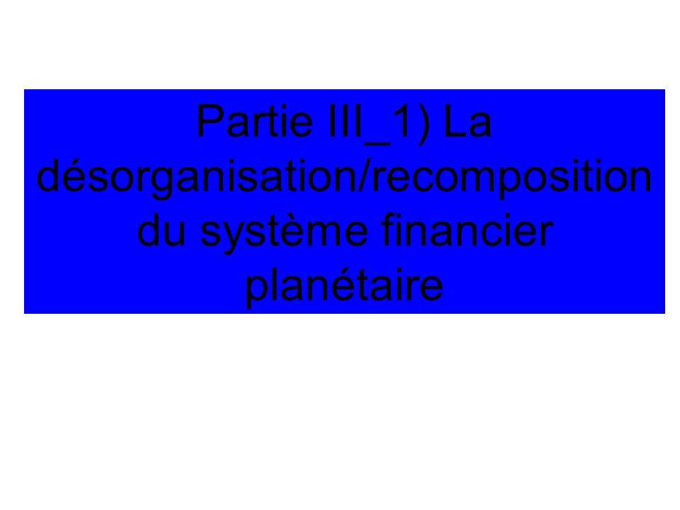 Partie III_1) La désorganisation/recomposition du système financier planétaire