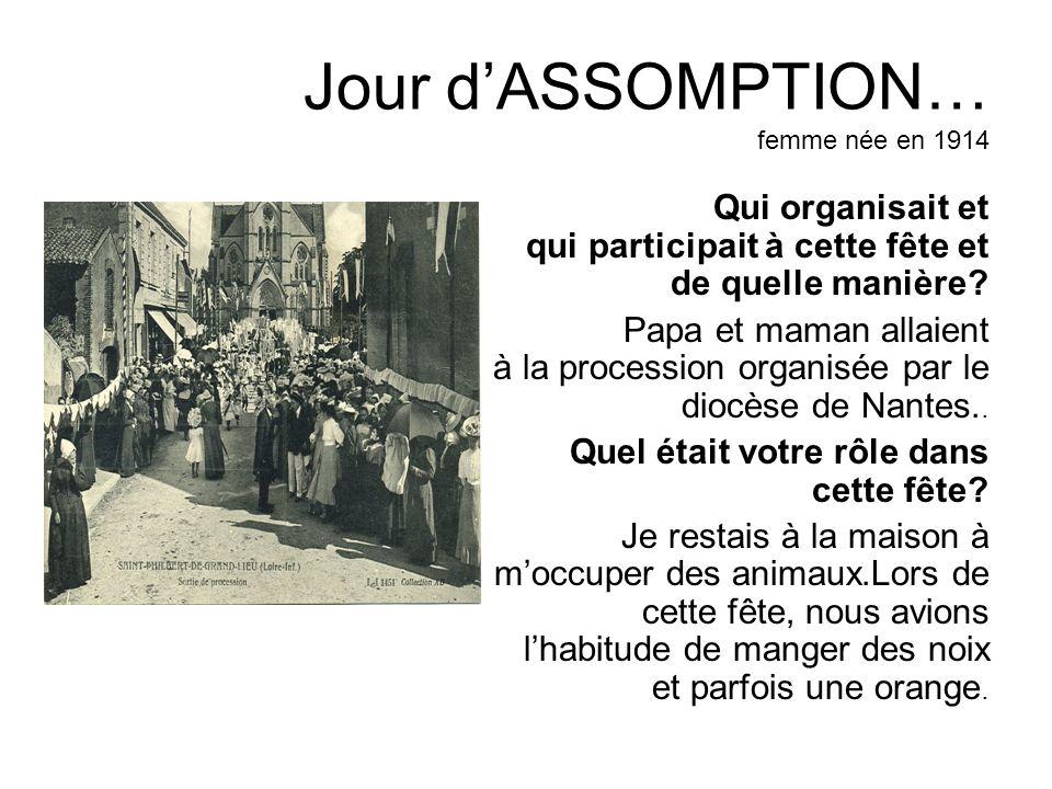 Jour dASSOMPTION… femme née en 1914 Qui organisait et qui participait à cette fête et de quelle manière? Papa et maman allaient à la procession organi