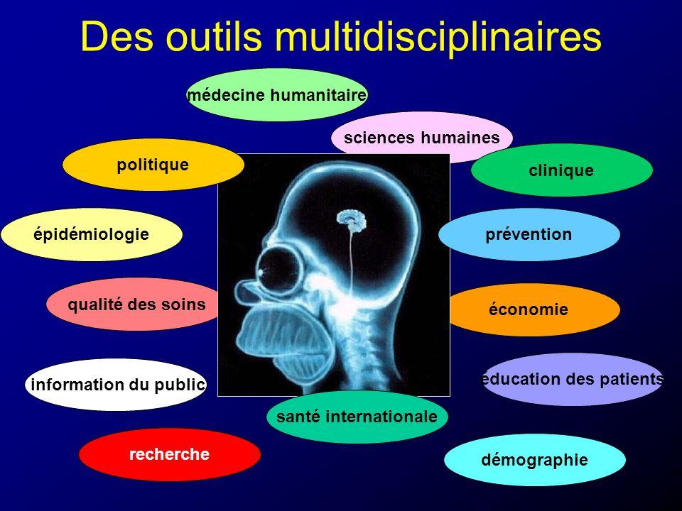 Des outils multidisciplinaires économie médecine humanitaire qualité des soins information du public sciences humaines recherche épidémiologie cliniqu