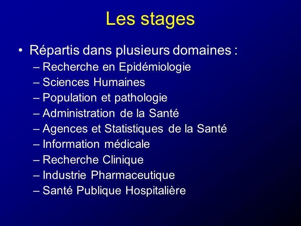 Les stages Répartis dans plusieurs domaines : –Recherche en Epidémiologie –Sciences Humaines –Population et pathologie –Administration de la Santé –Ag