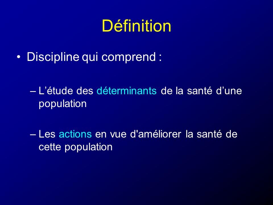 Définition Discipline qui comprend : –Létude des déterminants de la santé dune population –Les actions en vue d'améliorer la santé de cette population