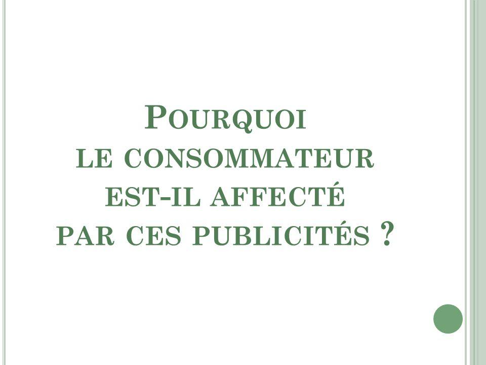 P OURQUOI LE CONSOMMATEUR EST - IL AFFECTÉ PAR CES PUBLICITÉS ?