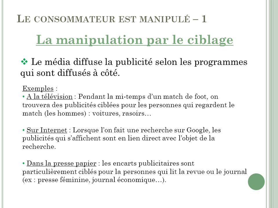 L E CONSOMMATEUR EST MANIPULÉ – 1 La manipulation par le ciblage Le média diffuse la publicité selon les programmes qui sont diffusés à côté. Exemples